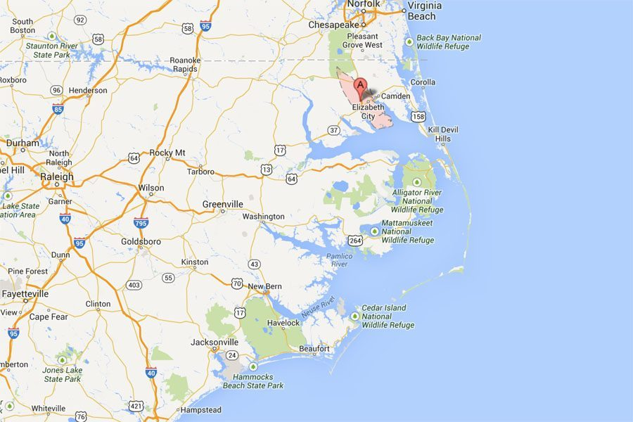 Pasquotank County, North Carolina (Map courtesy of Google Maps)