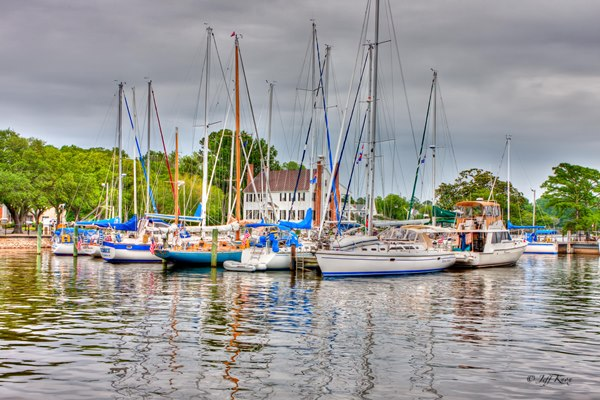 Sailboats docked in Edenton, NC