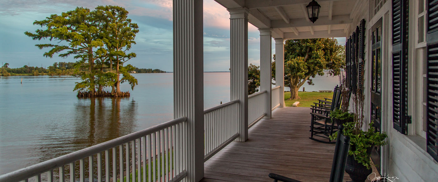 Front porch overlooking water in Edenton, NC